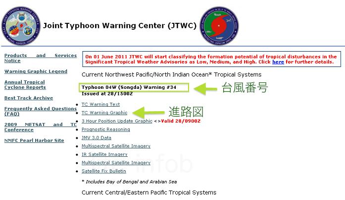 米軍台風情報