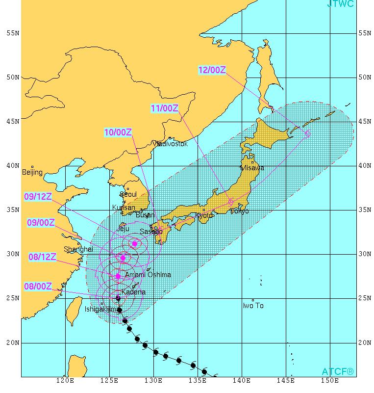 米軍台風進路図