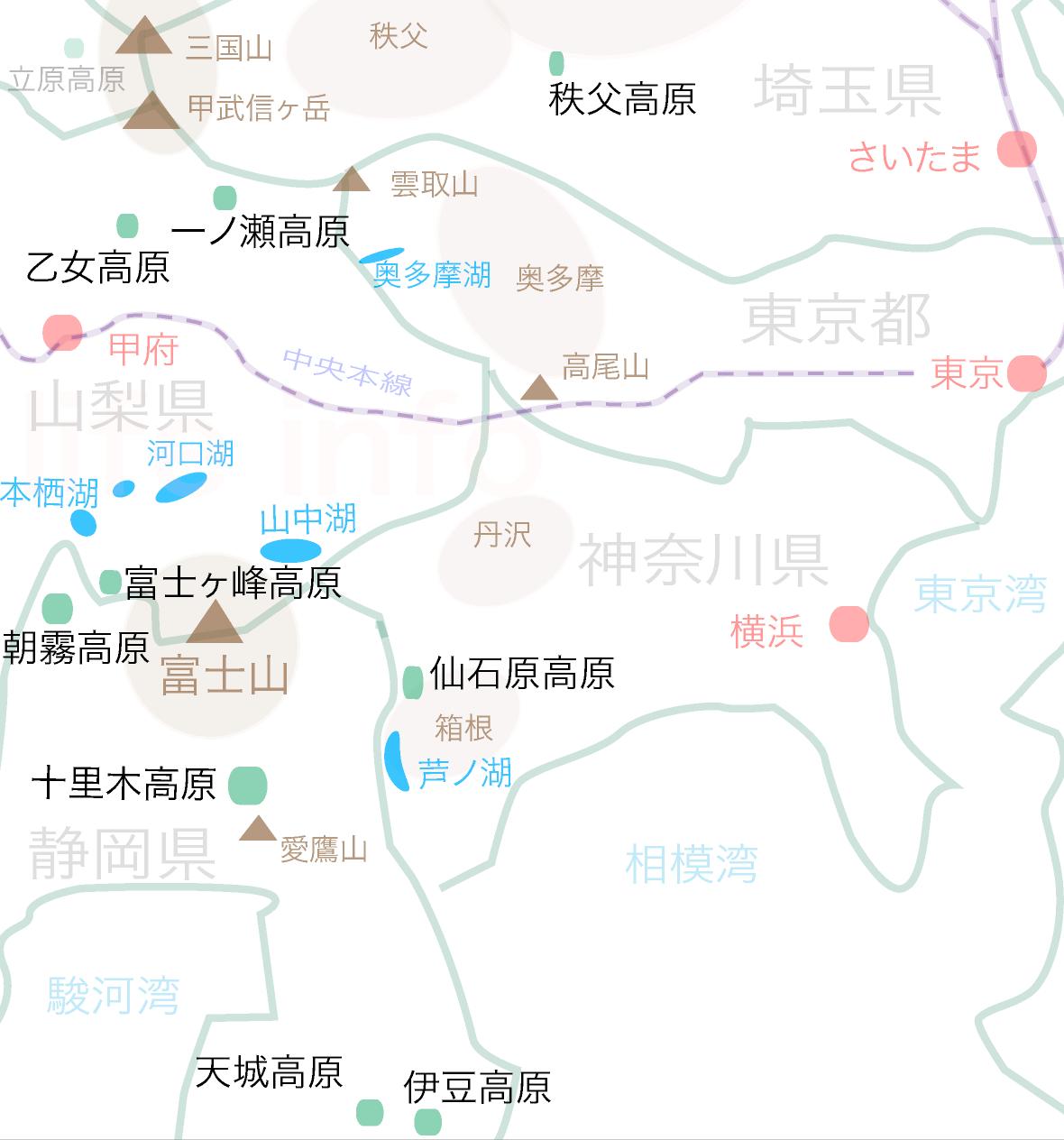 富士山周辺、関東平野近辺エリアの高原