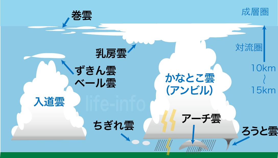 積乱雲に付随する雲の種類